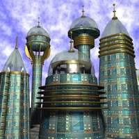 sci fi city buildings 3d model