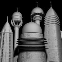 3dsmax sci fi city buildings