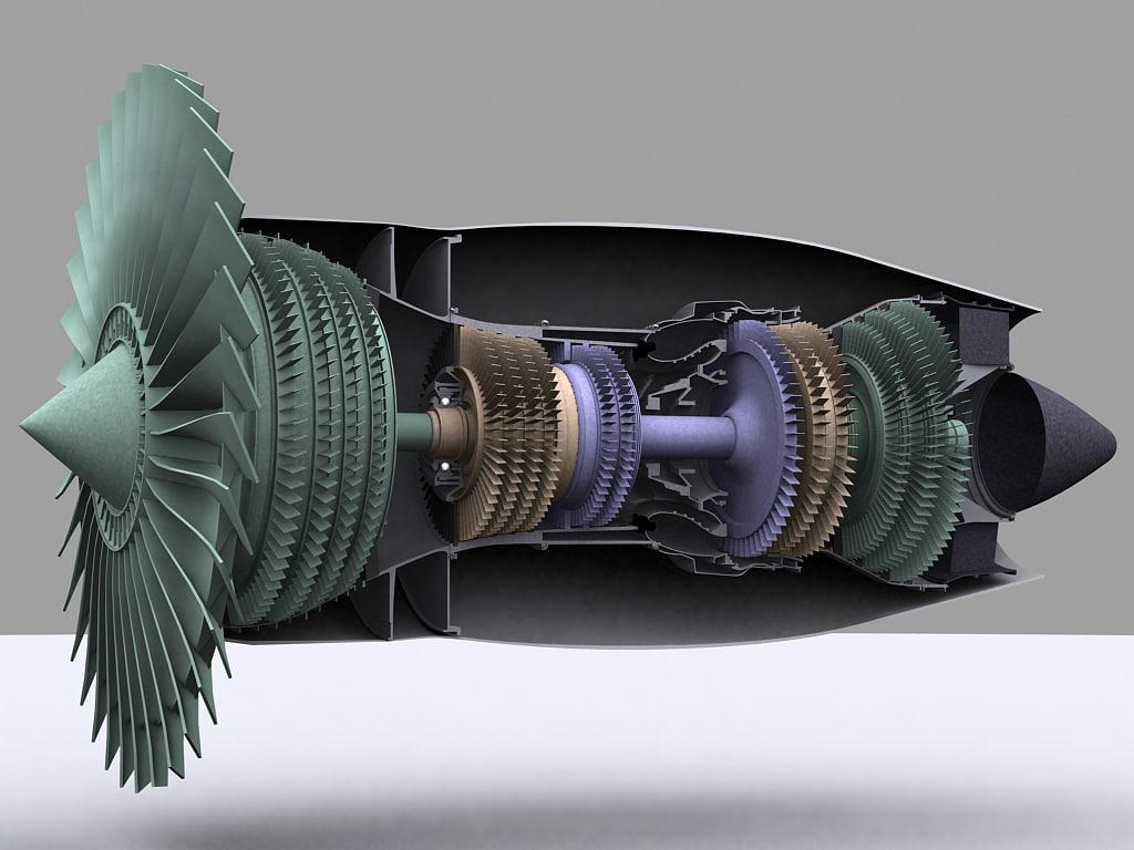 turbofan engine cutaway 3d model