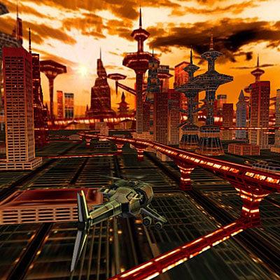3d virtual city spaceships model