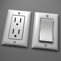 3d wall switch electrical outlet model