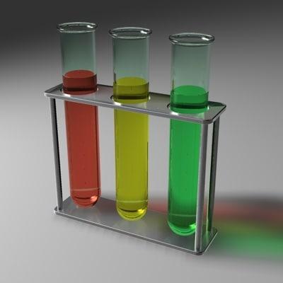 3d test tubes model