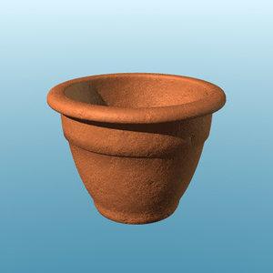 terracotta pot 3d lwo