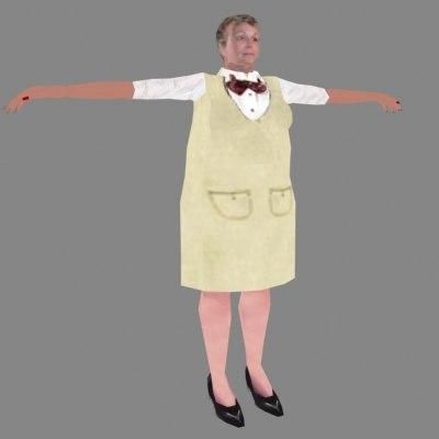 3d model human woman hostess