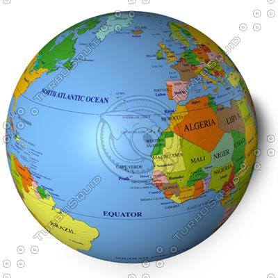 world country ocean 3d model