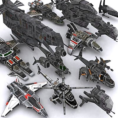 real-time sci-fi spaceships 3d model