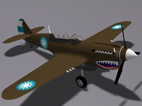 3ds max curtiss p-40n fighter
