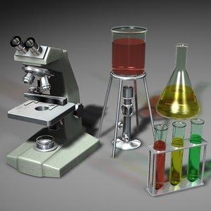 microscope bunsen burner flask 3d model
