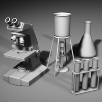 microscope bunsen burner 3d model