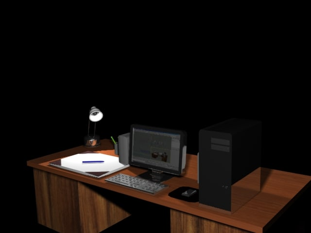 3d table office computer model