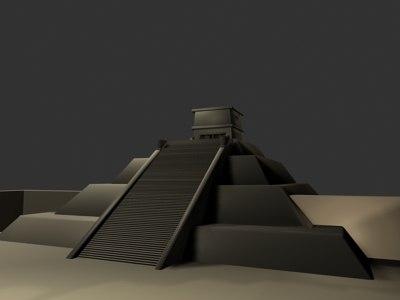 3d aztecs building pyramid