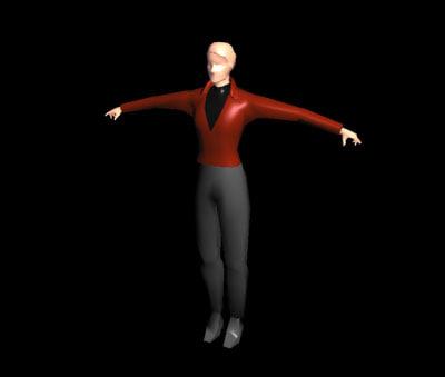 slim female character 3d model