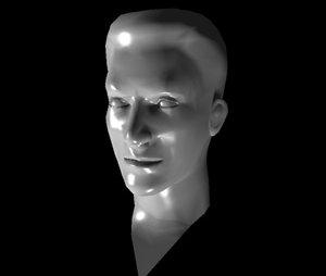 3d lwo male human head
