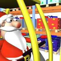 cartoon santa warehouse forklift 3d model