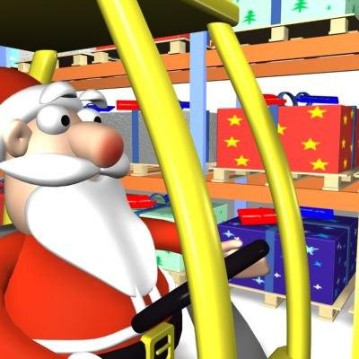 cartoon santa warehouse forklift 3d model