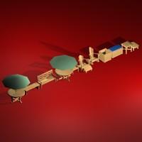 3d furniture lawn table umbrella