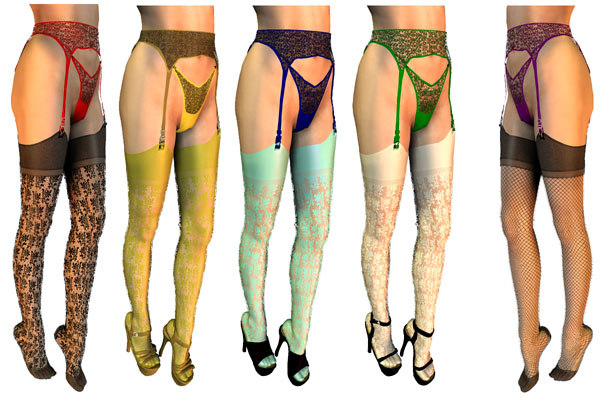 stockings garter belt 3d model