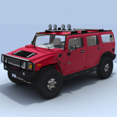 hummer h2 w interior 3d model