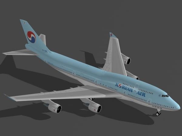 b 747-400 korean air 3d 3ds