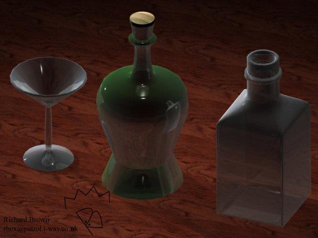 3d 3ds bottles martini glass