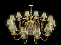 Set of chandelier and 2 lamps
