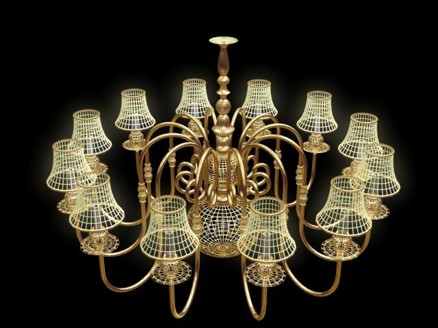 set chandelier lamp light 3d model