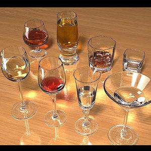 liquor glasses scenes 3d model