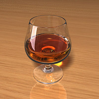 3d model of brandy glass liquid scenes