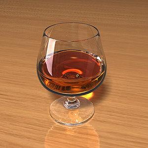 3d model of brandy glass liquid scenes