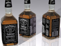 jack daniel whiskey bottle 3d model