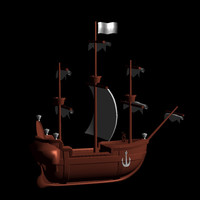 3dsmax cartoon galleon ship