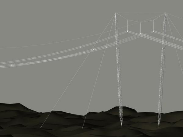 3d model cross rope suspension