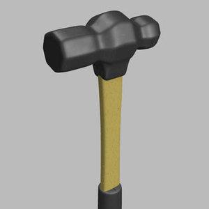 hammer ball peen 3d model
