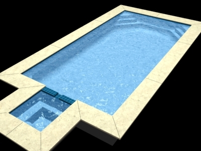 3d model rectangular swimming pool