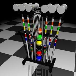 3d model croquet set