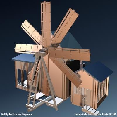 fantasy medieval windmill 3d model