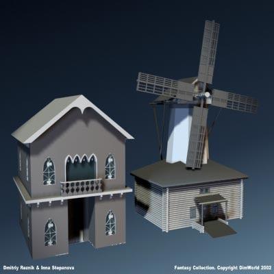 fantasy medieval windmill blacksmith max