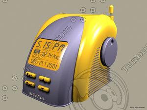 3d model radio clock trendy