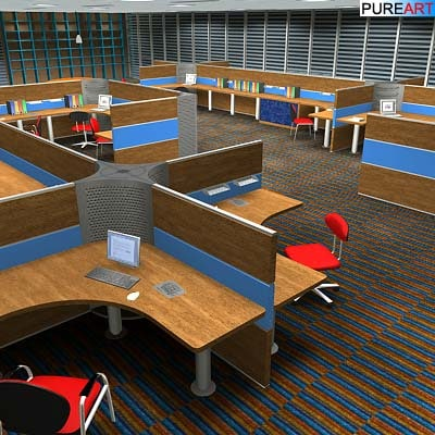 open office furniture 3d max
