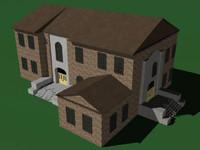 3d college school building model