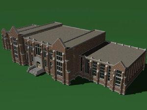 building university campus 3d model