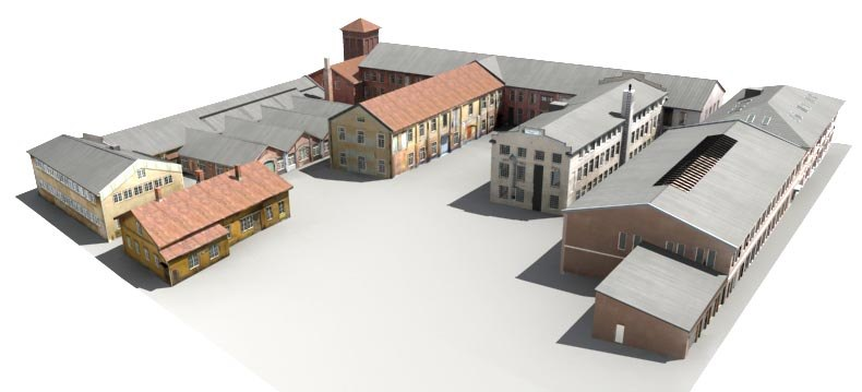 worn-out old factory 3d model