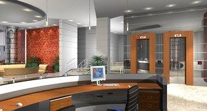 office reception lounge 3d model
