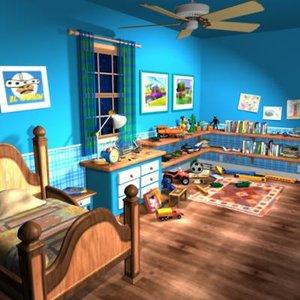 kids bedroom bed 3d model