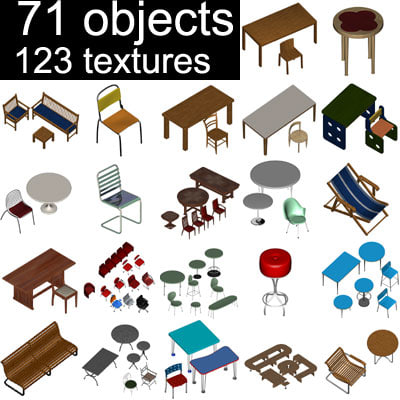 tables chairs armchair 3d model