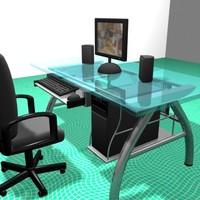 3d model glass metal desk office chair