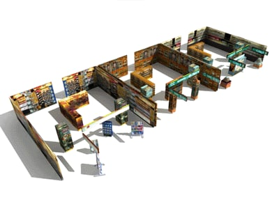 3d shop interiors model
