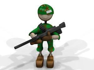 3ds max cartoon character army man