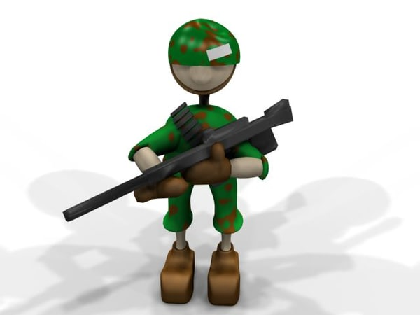 3ds max cartoon character army man