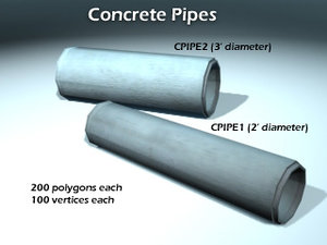 3d 2 single concrete pipes model